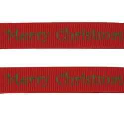 Ruban gros grain Merry Christmas sur fond rouge, 10 mm, au mètre