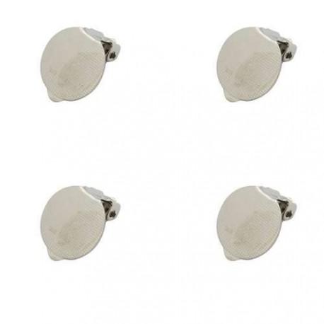 Clips d'oreille, 15 x 16,4 mm, argenté nickel - la paire