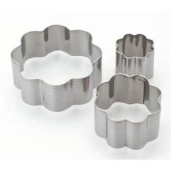 3 emporte-pièces Fleurs métalliques pour pate polymère
