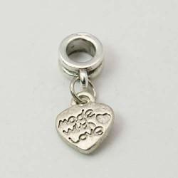 Métal Coeur Made with Love style Pandora - à l'unité