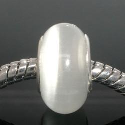 Perle de verre oeil de chat blanc style Pandora - à l'unité