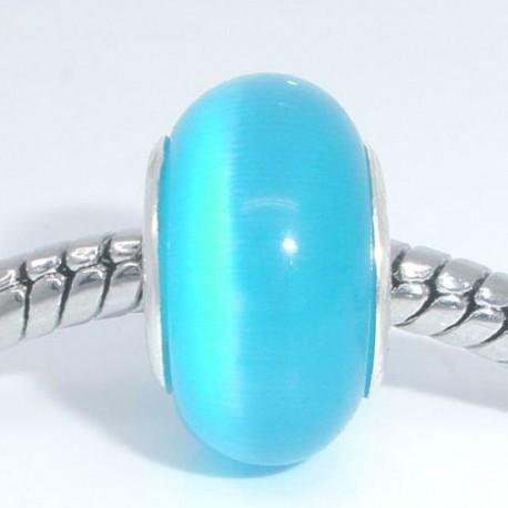 Perle de verre oeil de chat turquoise style Pandora - à l'unité
