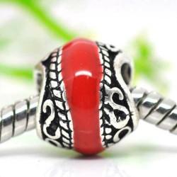 Métal Torsade émail rouge style Pandora - à l'unité