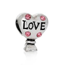 Métal Ballon coeur strass rose style Pandora - à l'unité