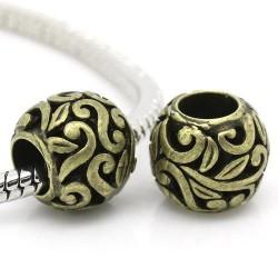 Métal Perle ronde tiges entrelacées style Pandora, bronze - à l'unité