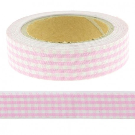 Masking Tape Vichy rose - 15 mm x 4 m