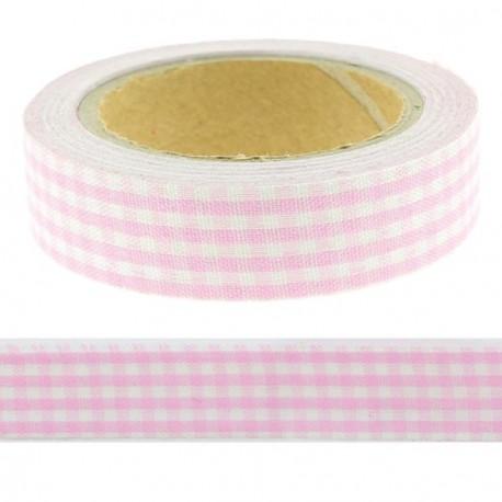 Masking Tape Vichy rose - 15 mm x 4 m