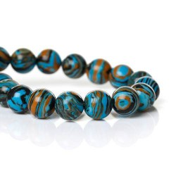 Perle Malachite bleue, ronde 8 mm - à l'unité