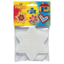 Lot 2 Plaques perles à repasser Hama Midi - Petit modèle Coeur, Etoile