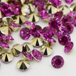 Strass imitation diamant, rond 4 mm, pourpre x 10