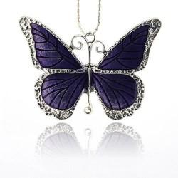 Pendentif breloque en métal Papillon, émail violet, argenté