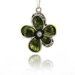 Pendentif breloque en métal Grande Fleur, strass et émail olive, argenté