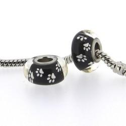 Perle de verre noires pattes blanches style Pandora - à l'unité