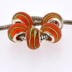 Perle de verre rouge striée verte style Pandora - à l'unité