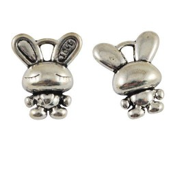 Pendentif breloque en métal petit lapin Love