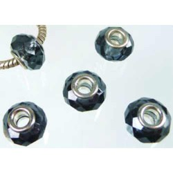 Perle à facettes Gris foncé style Pandora - à l'unité