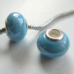 Perle porcelaine vernie Bleue style Pandora - à l'unité