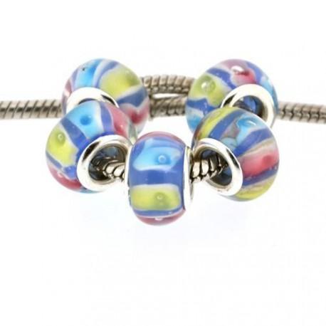 Perle de verre bleue multicolore style Pandora - à l'unité