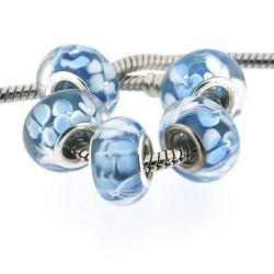 Perle de verre bleue aux fleurs style Pandora - à l'unité