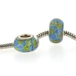 Perle de verre ronds turquoises et verts style Pandora - à l'unité