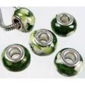 Perle porcelaine vert/blanc moucheté style Pandora - à l'unité