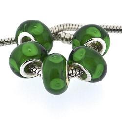 Perle de verre verte intense style Pandora - à l'unité