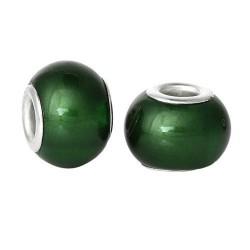 Perle de verre nacrée verte style Pandora - à l'unité