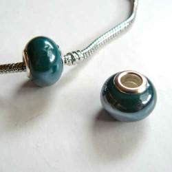 Perle porcelaine vernie Vert foncé style Pandora - à l'unité