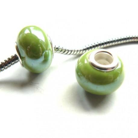 Perle porcelaine vernie Verte style Pandora - à l'unité