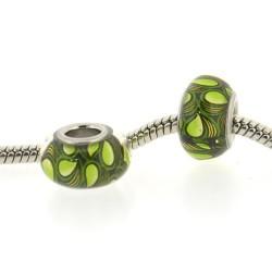 Perle de verre gouttes vertes style Pandora - à l'unité