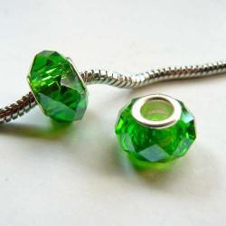 Perle à facettes Vertes style Pandora - à l'unité