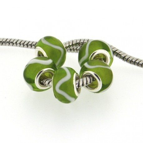 Perle de verre verte ligne blanche style Pandora - à l'unité