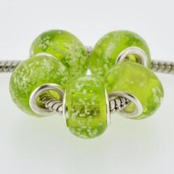 Perle de verre vert neigeux style Pandora - à l'unité