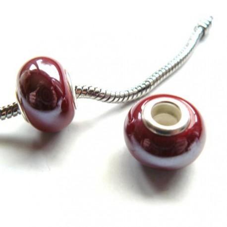 Perle porcelaine vernie Rouge foncé style Pandora - à l'unité