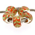 Perle de verre rouge avec lierre style Pandora - à l'unité