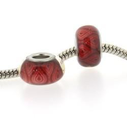Perle de verre rouges feu style Pandora - à l'unité