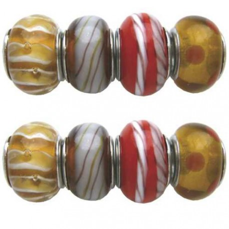 Assortiment Perles brun Pandora - 8 pièces