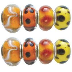Assortiment Perles orange style Pandora - 8 pièces