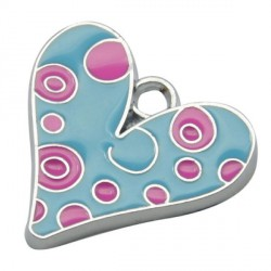 Pendentif breloque Email Coeur bleu