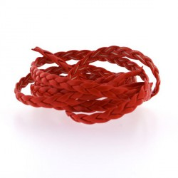 Cordon tressé plat simili cuir rouge, 5 mm ø - au mètre