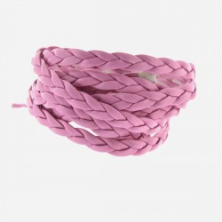 Cordon tressé plat simili cuir rose, 5 mm ø - au mètre