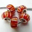 Perle de verre bandes rouges orangées style Pandora - à l'unité