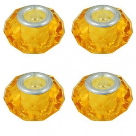 Perle à facettes Orange clair style Pandora - à l'unité