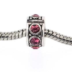 Métal perle bracelet pince strass rose style Pandora - à l'unité