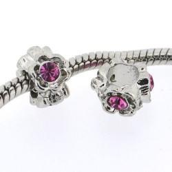 Métal Anneau strass rose style Pandora - à l'unité