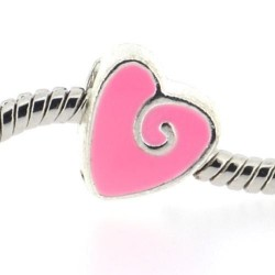 Métal petit Coeur émail rose style Pandora - à l'unité