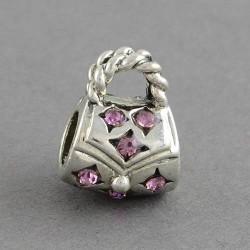 Métal Sac à main strass rose style Pandora - à l'unité