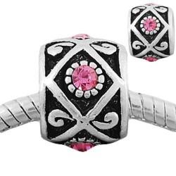 Métal Losange strass rose style Pandora - à l'unité