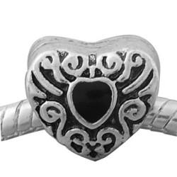 Métal Coeur strass noir style Pandora - à l'unité