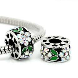 Métal Fleur strass blanc et émail vert style Pandora - à l'unité